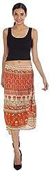 ViaKupia Women's Regular Fit Skirt (07456_M, Orange, Medium)