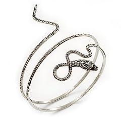 Antique Silver Textured Snake Armlet Bangle
