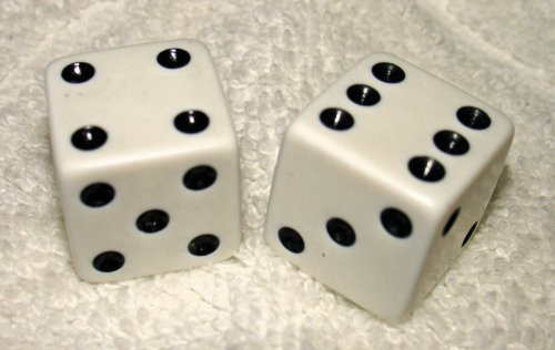 "Fantastic Deal! Large 3/4"" White Opaque Dice Pair"