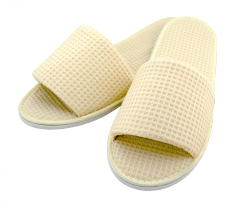 Cheap Cotton Waffle Slippers, Open-toed, Natural (3 Pairs/as159nx3) (B005DNOJS8)