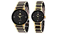 IIK Collection Pair of Black Dial Men's Watch & Black Dial Women's Watch IIk013M-1002W