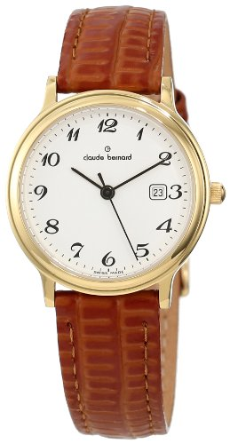 Claude Bernard Women's 31211 37J BB Classic Ladies Gold PVD White Dial Leather Date Watch