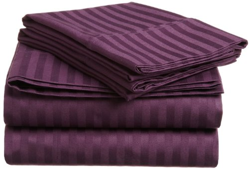 Impressions Genuine Egyptian Cotton 300 Thread Count Full 4-Piece Sheet Set Stripe, Plum front-854704