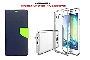 Samsung Galaxy On7 Imported Flip Cover (Blue with Green Strap) and HIGH Quality Transparent TPU Back Cover