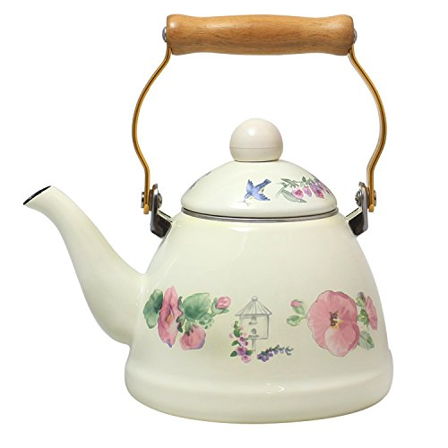 JustNile Country-Style Decorative Enameled iron Tea Kettle with Vintage Wooden Handle - 1.2 Quarts, Pink Floral Motif (Flower Tea Kettle compare prices)