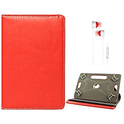 DMG Portable Foldable Stand Holder Cover Case for Lava Qpad E704 Tablet (Red) + White Stereo Earphone with Mic and Volume Control