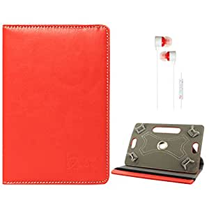 DMG Portable Foldable Stand Holder Cover Case for Vizio Vz-706 (Red) + White Stereo Earphone with Mic and Volume Control