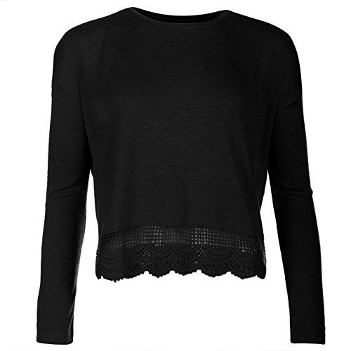Lee Cooper-Pullover da donna maglione maglia fine a maniche lunghe Top orlo in pizzo nero Medium