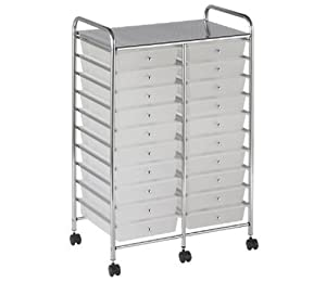 Drawer Mobile Organizer Metal Frame Home Office 6 Rolling Cart White