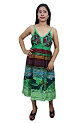 Indiatrendzs Women's Dress Floral Print Green Casual Wear Cotton Midi Dress