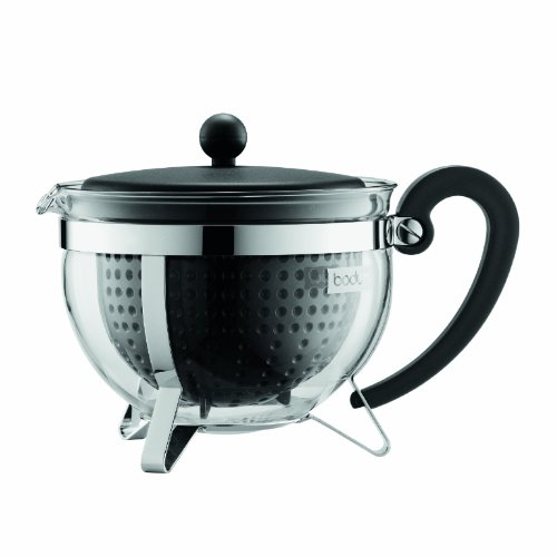 Bodum 1970-01 Chambord Tea Pot with Colored Plastic Lid Handle Knob and Filter, 44 oz, Black (Chambord Teapot compare prices)