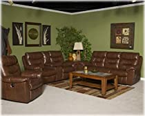 Hot Sale Brown Leather Double Reclining Power Loveseat w/Console by Ashley Furniture