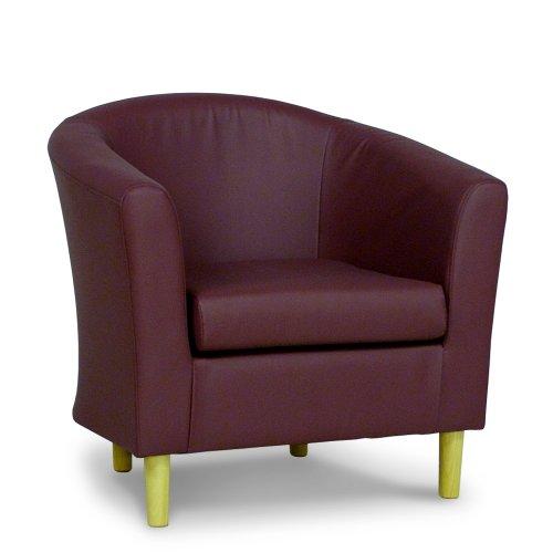 Plum Faux Leather Tub Chair