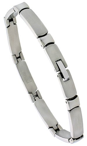 Stainless Steel Solid Link Bracelet 1/4 inch wide, 8 inch long