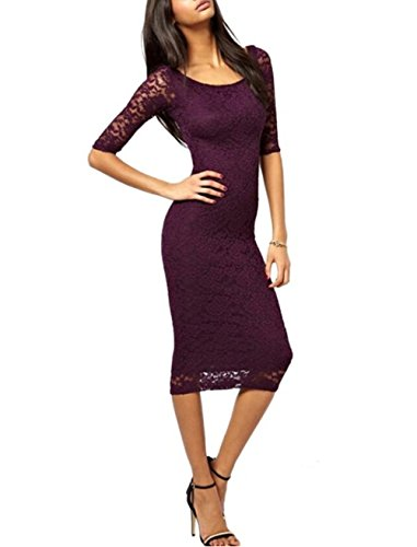 Yomoko Women's Retro Lace Floral Overlay 3/4 Sleeve Party Bodycon Midi Dress (Medium, Purple)
