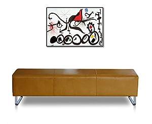 lange bauhaus lederbank sitzbank echt leder fuss edelstahl abbildung leder hellbraun. Black Bedroom Furniture Sets. Home Design Ideas