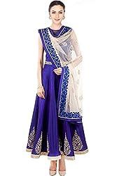 Fabron Women's Raw Silk Semi Stitched Anarkali Suit (S114_Blue)