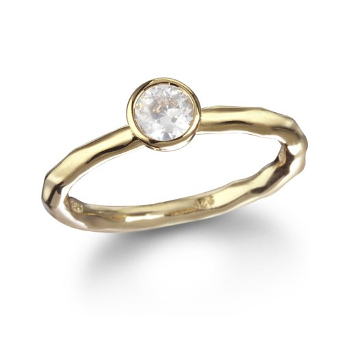 5mm White CZ Solitaire Ring in Gold Tone