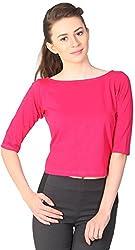 Unimod Women's Cotton Regular Fit Top (U066_Pink_XL, Pink, XL)