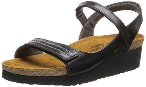 Naot Women's Madison Wedge Sandal,Black Madras Leather,38 EU/6.5-7 M US