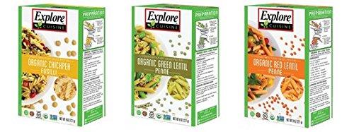 Explore Cuisine Organic Gluten Free Pluse Pasta 3 Flavor Variety Bundle: (1) Chickpea Fusilli, (1) Green Lentil Penne , and (1) Red Lentil Penne, 8 Oz Ea (Green Lentil Pasta compare prices)
