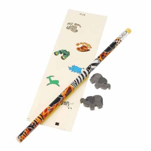 Dozen Sets Of Safari Wild Animal Theme 11 Piece Activity Stationary Packs