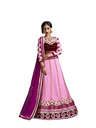 Pink Net And Georgette Lehenga Choli