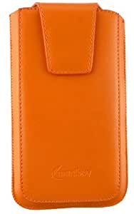 Emartbuy® Sleek Range Orange Luxury PU Leather Slide in Pouch Case Cover Sleeve Holder ( Size 4XL ) With Magnetic Flap & Pull Tab Mechanism Suitable For BLU Energy M