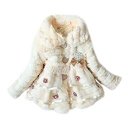 Weixinbuy Kids Girls Faux Fur Fleece Lapel Coat Winter Warm Jacket Beige S