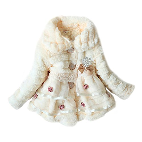 Weixinbuy Kids Girls Faux Fur Fleece Lapel Coat Winter Warm Jacket Beige XS