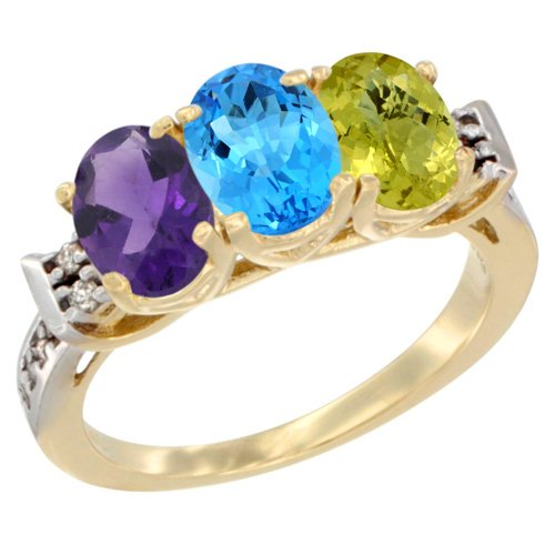 10K Yellow Gold Natural Amethyst, Swiss Blue Topaz & Lemon Quartz Ring 3-Stone Oval 7x5 mm Diamond Accent, size 8.5
