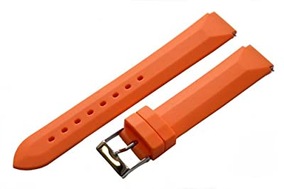 Orange - 22mm Classic Rubber Watch Band Strap Fits Philip Stein Chronograph Watches from Clockwork Synergy, LLC