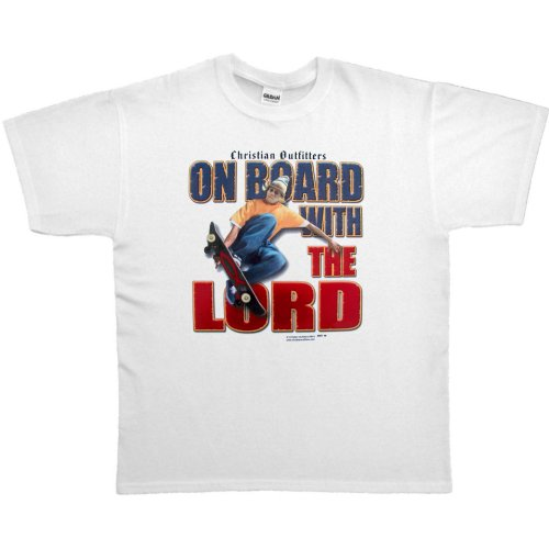 MENS T-SHIRT : SPORTS GREY - MEDIUM - Christian Outfitters On Board With The Lord - Christian Inspirational Skateboarding Skateboard Skate