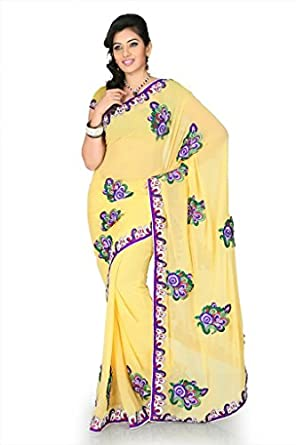 Designersareez Women Faux georgette Embroidered Yellow Saree with unstitched blouse 1178  available at Amazon for Rs.1953