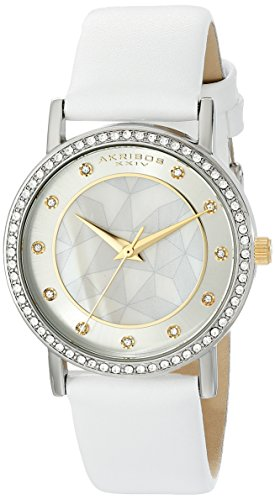 Akribos XXIV Women's Crystal-Accented Silver-Tone Watch with White Leather Band