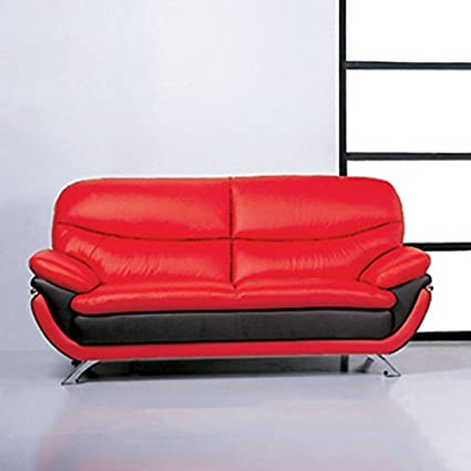 BH Design Leather Match Sofa, Red/Black