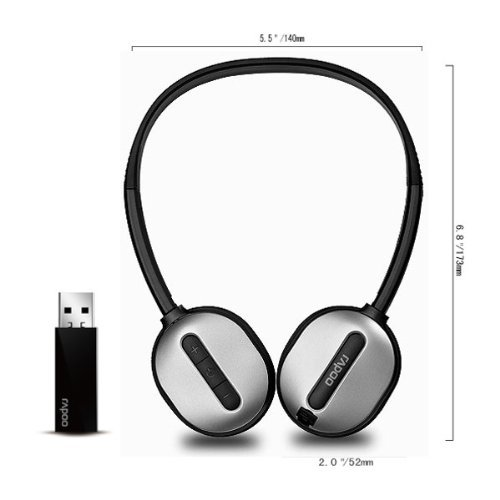 Rapoo Rechargeable High-Fidelity 2.4G Usb Wireless Stereo Headphone With Microphone H1030 -Black By Koolertron