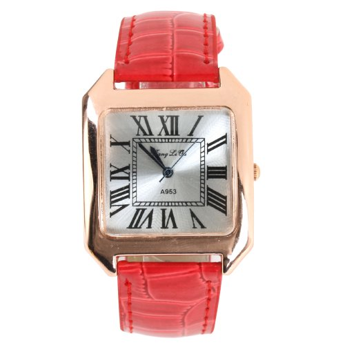 Yesurprise Couple Watches Pu Band Big Square White Face Rome Number Fashion Watch(Men) Red