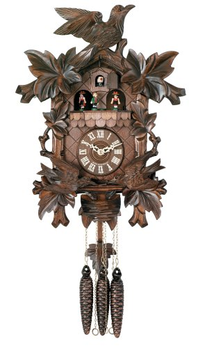 River City Clocks One Day Hand-carved Musical Cuckoo Clock with Dancers and Animated Birds - 16 Inches Tall