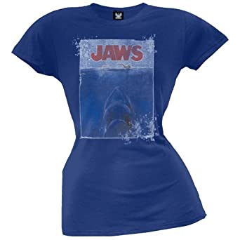 Jaws - Womens Poster Juniors T-shirt Small Blue