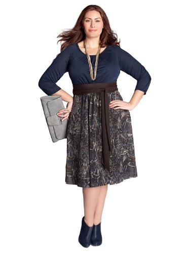 Cheap IGIGI by Yuliya Raquel Plus Size Lynette Sweater Dress in Navy/Grey