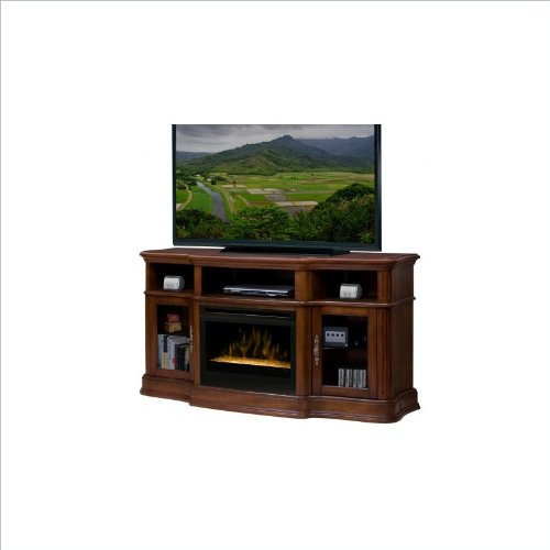 """Portobello 68"""" Tv Stand With Electric Fireplace Insert Style: Glass Ember, Finish: Walnut"""
