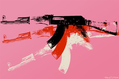 Machine Gun Pop Art Andy Warhol Wall Artwork Art Prints Posters. 20″ x 16″