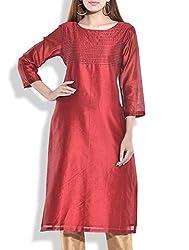 Tagaai Women's Silk Cotton Long Kurta Mehroon - Large