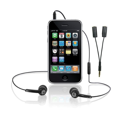 Macally Tunepal Earbud And Splitter, Black