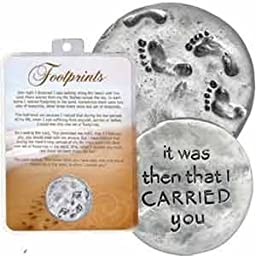 1 1/4'' Pewter FOOTPRINTS in the SAND Token with VERSE ''It Was Then That I Carried You'' INSPIRATIONAL Christian Reminder/GIFT Keepsake/MEMENTO by kg