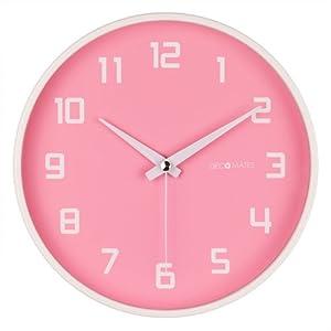 Amazon Com Decomates Non Ticking Silent Wall Clock Pink