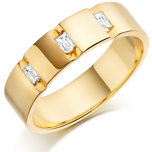 House of Williams 18ct Yellow Gold Gents 5mm Wedding Ring with 3 Channel Set Baguette Diamonds Weighing a Total of 24pts - Size Y