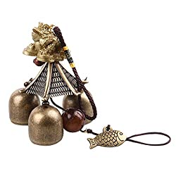 Imported Chinese Golden Toad Fish Metal Bell Lucky Feng Shui Hanging Wind Chime