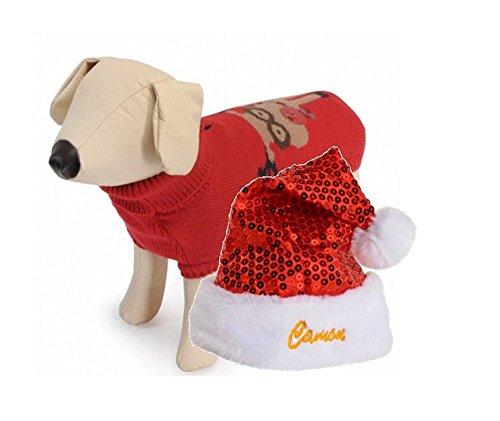 Camon maglioncino natalizio e cappellino babbo natale per cani - OFFERTA SPECIALE